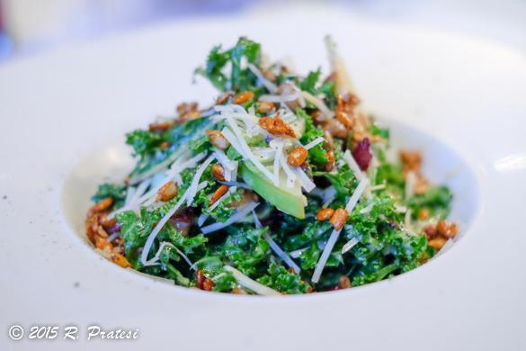 Baby Kale & Brussels Sprout Salad Toasted Walnuts, Pecorino, Dried Cranberries, Pumpkin Seeds, Green Apples, Crispy Bacon, & Lemon-Mustard Vinaigrette