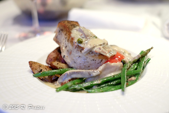 Roasted Atlantic Swordfish Roasted Red Potatoes and Onions, Prosciutto, Caper and Mushroom Beurre Blanc