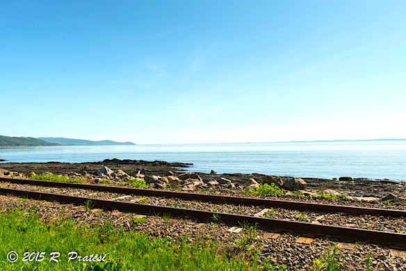 The rail line along the coast of the St. Lawrence River in Charlevoix