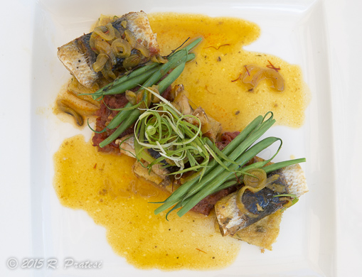 Steamed Flying Fish, Saltfish Cou Cou, with Sweet Tomato Chutney, and Saffron Butter