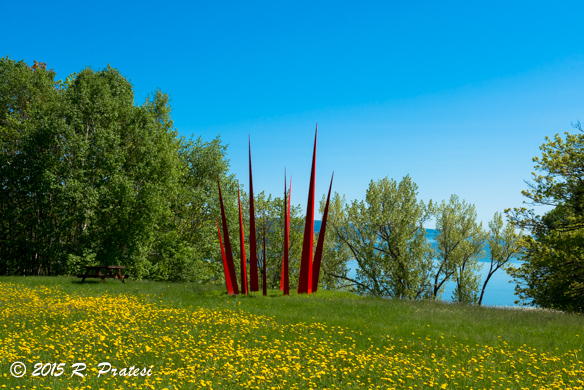 Large scale works by international artists are featured in the Sculpture Garden