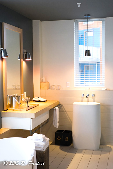 The bath area opens into the bedroom and is fitted with contemporary bath fixtures
