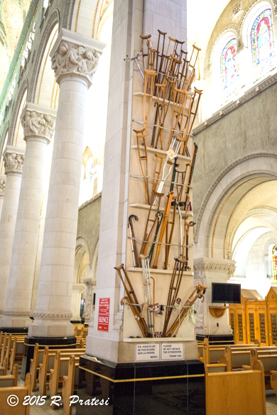 Crutches and walkers have been left as a testament to the healing powers of the Basilica