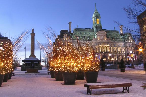 City Hall of Montreal at Christmas time