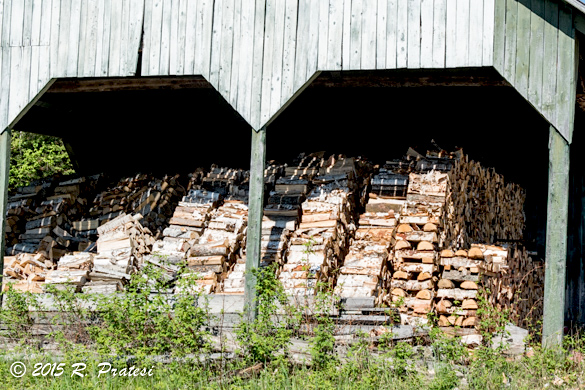 Storing wood for the winter season when outdoor sports and skiing are very popular