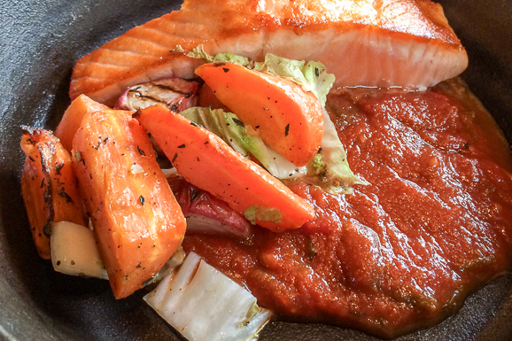 Braised salmon, Tuttorosso tomato sauce, miso, roasted vegetables
