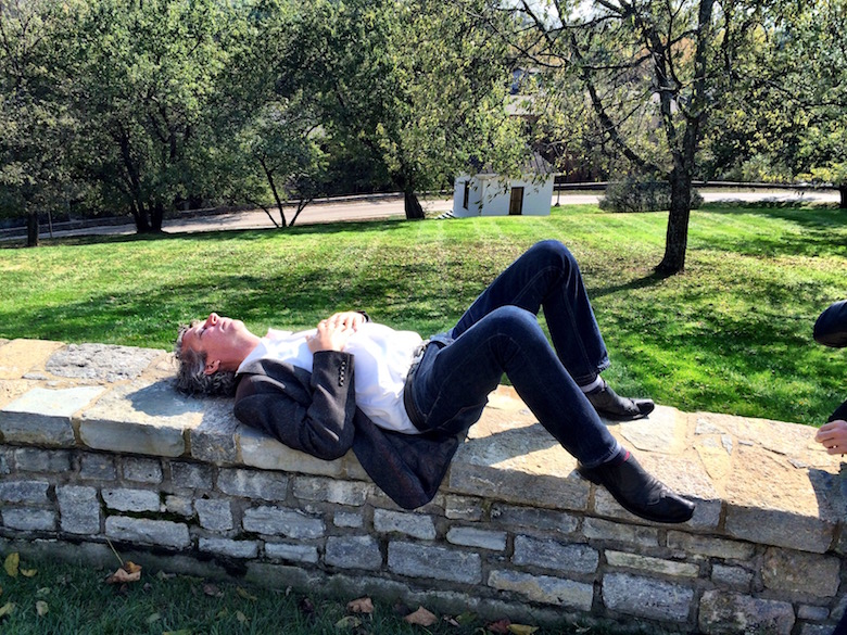 Taking a nap after lunch and bourbon at Woodford Reserve