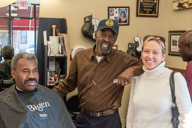 With Vernon Winfrey and the Fire Chief at Winfrey's Barbershop