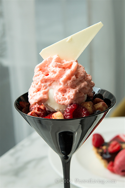 Fresh Berries, Red Tea Panna Cotta & Yogurt Sorbet