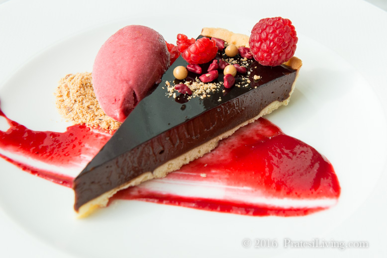 Bitter Chocolate Tart with Raspberries