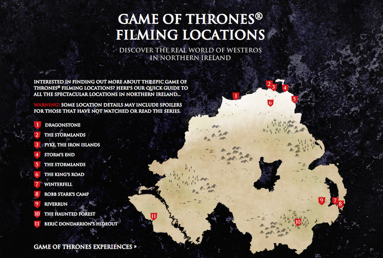 * Game of Thrones locations