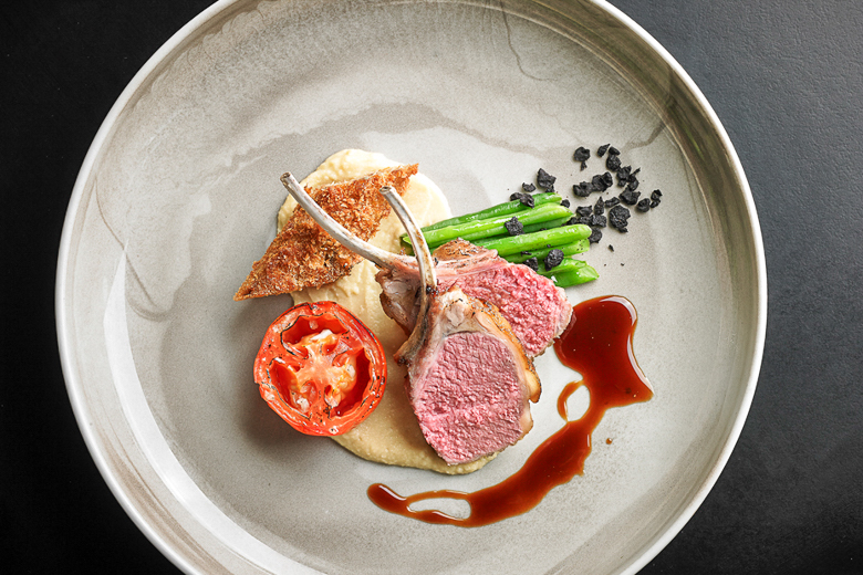 Wicklow Rack of Lamb, Neck Croquette, Roast Tomato, Champ Mash, and Rosemary Jus