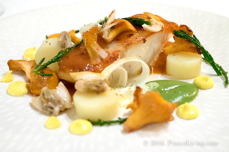Cod with fennel, girolles, clams, and Rockfish sauce