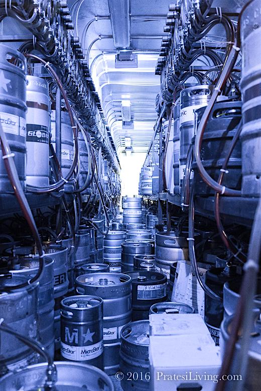The impressive storage room with the nitrogen tanks