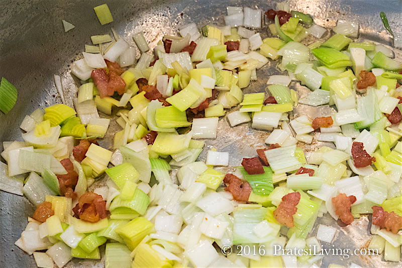 Sautéing leeks with the pancetta