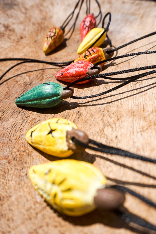 Necklaces made from the cacao beans