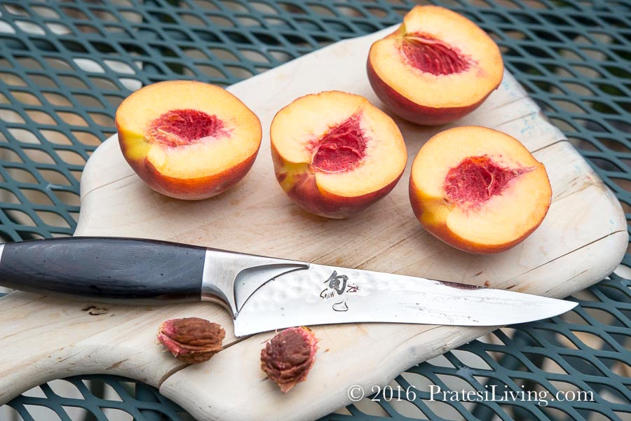 The pits pop right out of the cling free peaches