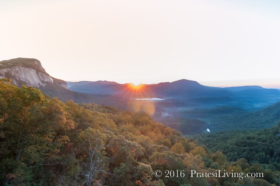 Sun setting with views of Whiteside Mountain
