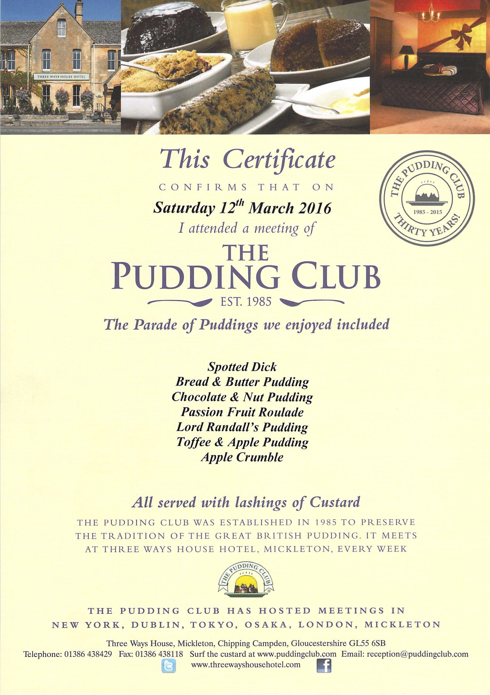 Each guest receives a certificate
