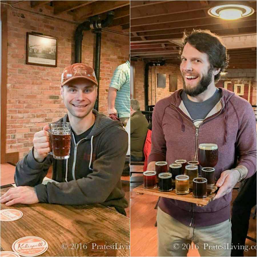 Cole Schneider and beer tasting at Kalispell Brewery
