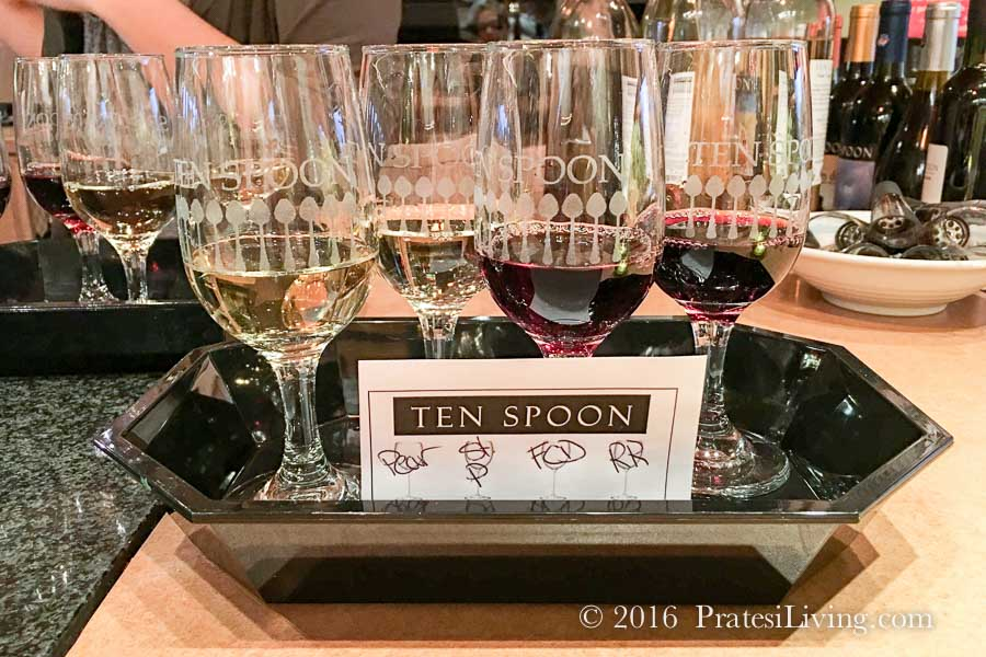 Wine tasting at Ten Spoon WInery