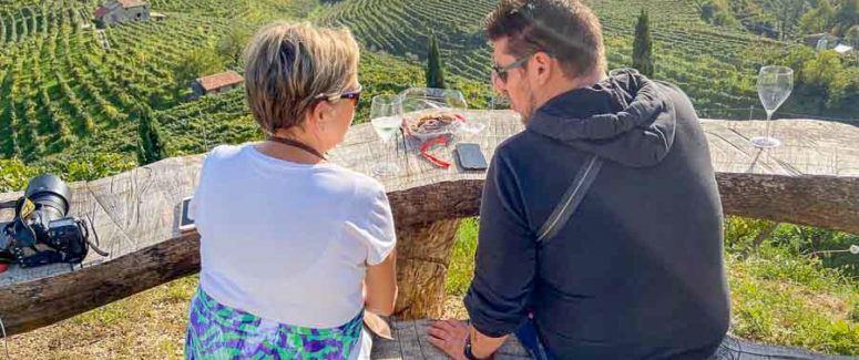 Gwen and Riccardo at Bortolin Angelo's vineyards