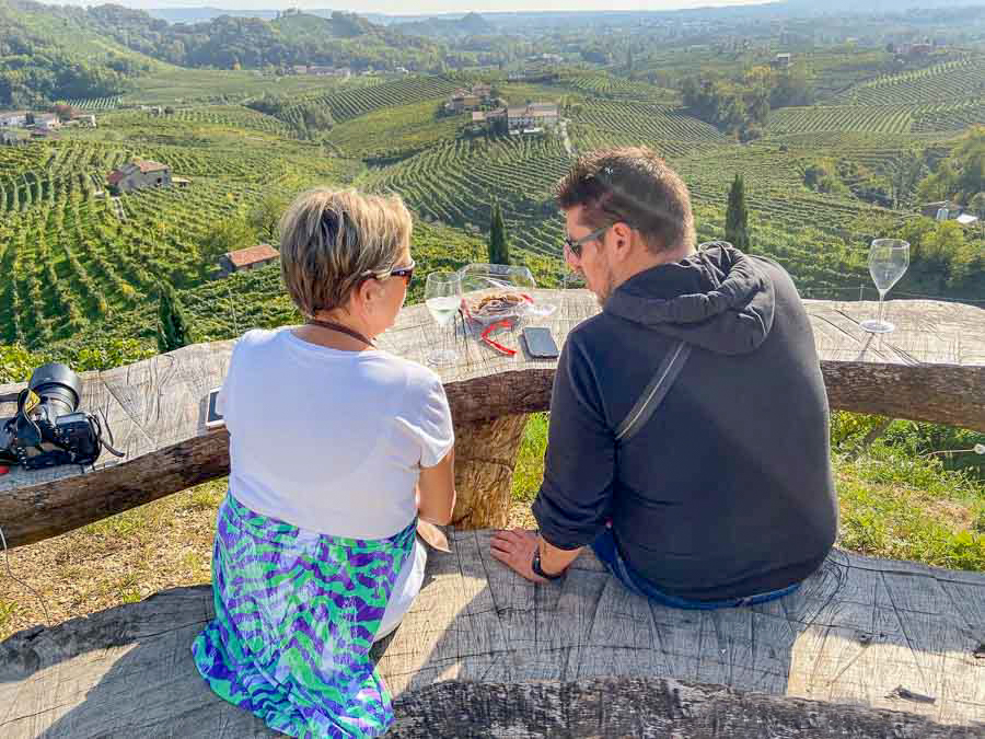 Gwen and Riccardo of Bortolin Angelo in the vineyards