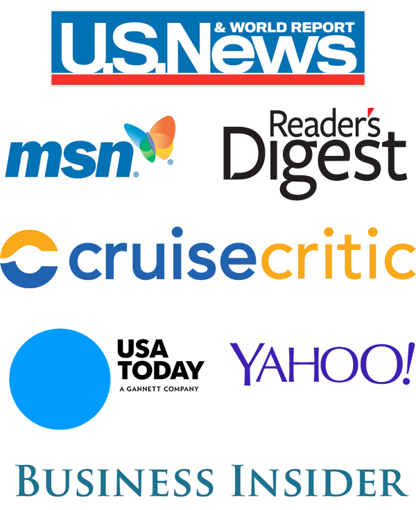 US News, MSN, Reader's Digest, Cruise Critic, USA Today, Yahoo, Business Insider