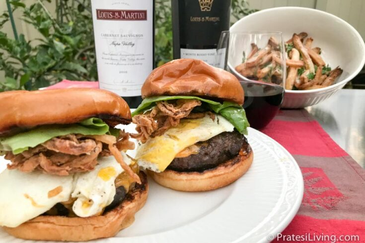 Elevated Burgers With Fried Egg, Crispy Onion, and Bacon Marmalade